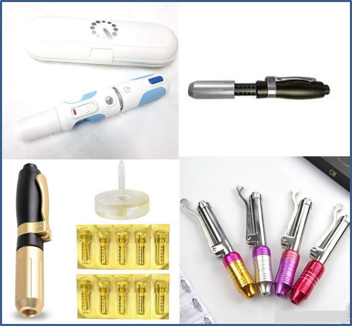 Examples of pressurized pens used in needle-free filler treatments.
