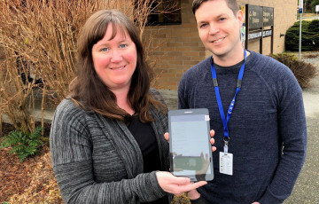 Island Health's Lara Renehan and Matthew Martin are helping palliative clients in the North Island use simple tablets to provide daily health updates to care teams from the comfort of their own homes.