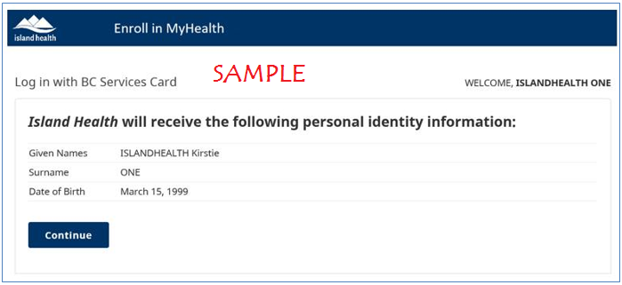 MyHealth Confirm Personal Information Screen