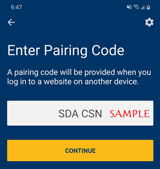 mobile device pairing code screen